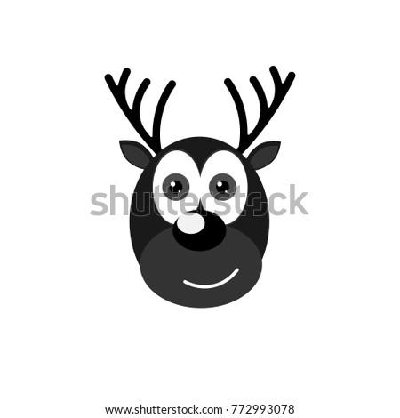 Reindeer Icon Christmas Symbol Flat Design Template Xmas Deer Vector Illustration