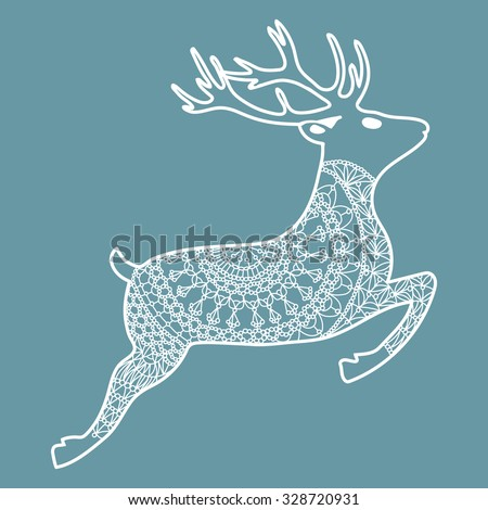 Reindeer Knitted Pattern Stock Vector Royalty Free 328720931