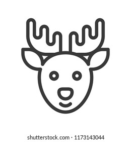 Reindeer, Merry Christmas theme set, outline editable stroke pixel perfect icon