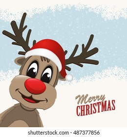 reindeer merry christmas winter snowflakes background