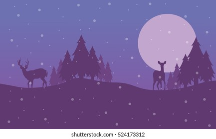 Reindeer on the hill scenery Christmas