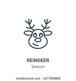 Reindeer outline vector icon. Thin line black reindeer icon, flat vector simple element illustration from editable season concept isolated stroke on white background
