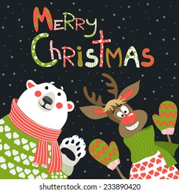 Reindeer and polar bear celebrating Christmas at vector greeting card