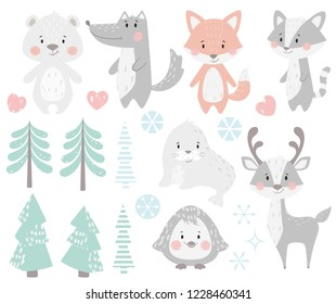 Reindeer, raccoon, seal, wolf, penguin, bear, fox baby winter set. Cute animal, forest tree, snowflake christmas illustration for nursery, t-shirt, kids apparel, baby shower. Scandinavian child design