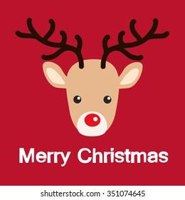 Reindeer red nose cartoon christmas card. Vector Illustration