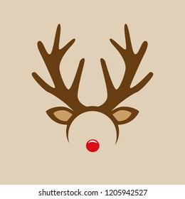 reindeer with red nose costume mask hairband  vector illustration EPS10