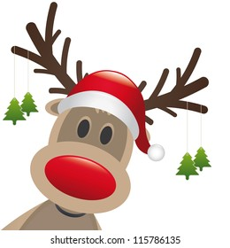 reindeer red nose hat christmas tree