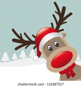 reindeer with red nose and hat scarf