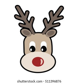 reindeer with red nose isolated on white background
