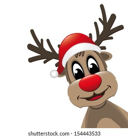 reindeer red nose with santa hat isolated