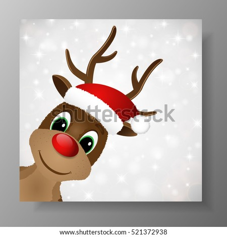 be1d2ec61e204 Reindeer with red nose and Santa hat. Christmas greeting card. Vector  illustration.
