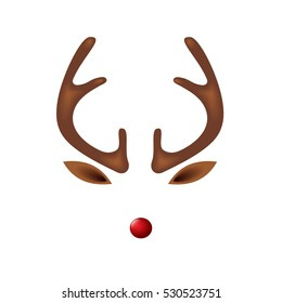 Reindeer with red nose template - vector illustration