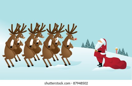Reindeer Revolt, confronting Santa Claus. This year, it's his turn to pull the sleigh. EPS 8 vector, grouped for easy editing.