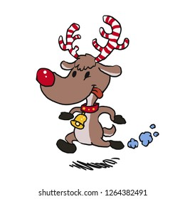 Reindeer  running with candy antlers