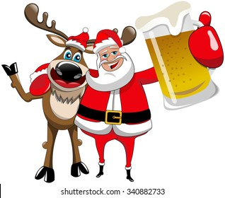 Reindeer and Santa Claus hugging and holding beer mug isolated