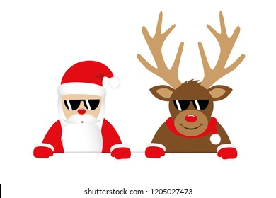 reindeer and santa claus with sunglasses christmas cartoon vector illustration EPS10