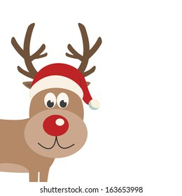 reindeer santa hat isolated background