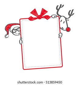 reindeer and Santa holding christmas gift voucher