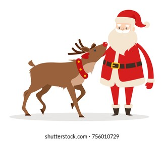 Reindeer and Santa isolated on white. Santa strokes his friend head. Saint Nicolas favourite pet. Brown deer and fairy character in cartoon style. Editable elements in flat design vector illustration