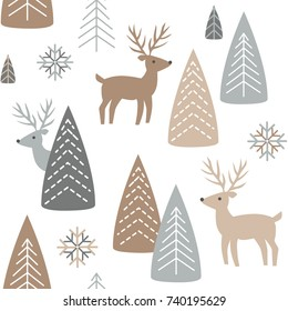 Reindeer seamless pattern. White background with deer and forest. Scandinavian winter style. Vector illustration.