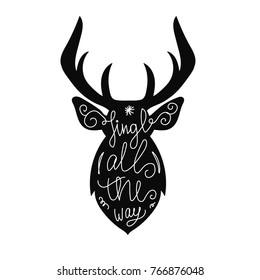 Reindeer silhouette with handlettered greetings. Elk or deer illustration. Handdrawn print