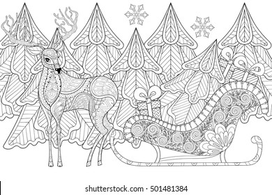 Reindeer with Sledges of Santa with Christmas tree, gifts, snowflakes in patterned style for adult anti stress coloring pages, art therapy, tattoo. Vector illustration,hand drawn sketch.