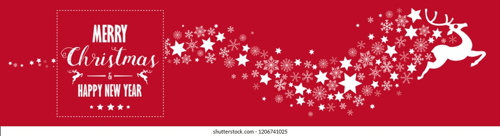 Reindeer with snowflakes and stars on the white background. Eps 10 vector file.