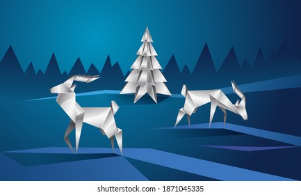 Reindeer and spruce. Metallic Polygonal Landscape with Deer and Christmas Tree on Snowy Background.