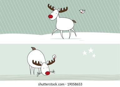 Reindeer trotting & reindeer eating - with a little robin