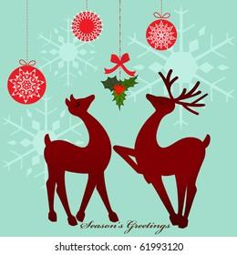 Reindeer under mistletoe