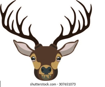 Reindeer Vector Animal Head Antlers Illustration Colourful
