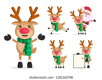 Reindeer vector character set.  christmas cartoon characters with santa claus isolated in white background. Vector illustration.