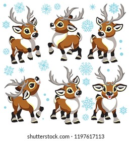 reindeer vector set. Cartoon collection of funny Christmas tiny caribou deer in different poses . Isolated illustrations for little kids
