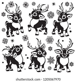 reindeer vector set. Cartoon collection of funny Christmas tiny caribou deer in different poses .Black and white  isolated illustrations for little kids