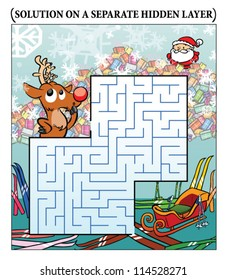 Reindeer's Christmas Maze puzzle (answer on a separate layer)