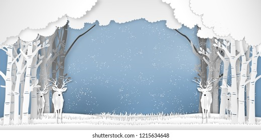 Reindeers in forest in the winter season with trees and snow  as Merry Christmas , Paper art , cut and digital craft style concept. vector illustration