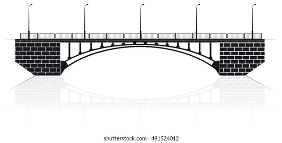 Reinforced concrete arch bridge in Kiev for cars and pedestrians. Black silhouette.
