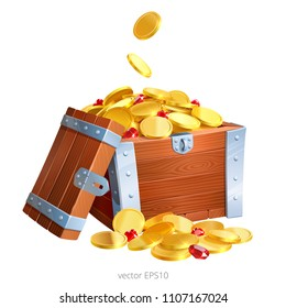 Reinforced wooden box is filled with a gold coins and rubies. Handful of precious money and red gems lies next to the chest. Lid is leaning against the gift container. Vector icon. White background.