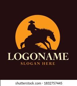 reining horse with cowboy design logo