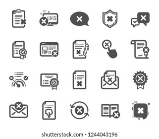 Reject or cancel icons. Set of Decline certificate, Cancellation and Dislike icons. Refuse, Reject stamp, Disapprove or cancel. Wrong agreement, delete certificate, checklist document. Vector