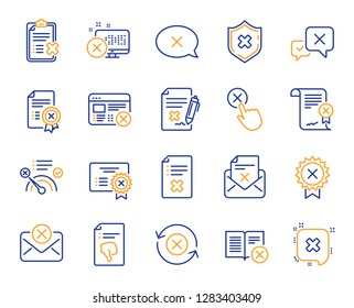 Reject or cancel line icons. Set of Decline certificate, Cancellation and Dislike icons. Refuse, Reject stamp, Disapprove or cancel. Wrong agreement, delete certificate, checklist document. Vector
