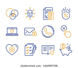 Reject click, Web love and Credit card icons simple set. Secure mail, Survey checklist and Loan percent signs. Call center, Heart and Euler diagram symbols. Line reject click icon. Colorful set