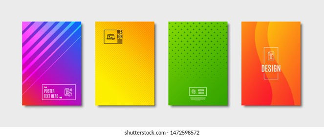 Reject file, Bitcoin pay and Call center line icons set. Cover design, poster template. Swipe up sign. Decline agreement, Mobile payment, Phone support. Scroll screen. Technology set. Vector