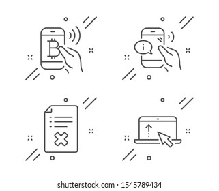 Reject file, Bitcoin pay and Call center line icons set. Swipe up sign. Decline agreement, Mobile payment, Phone support. Scroll screen. Technology set. Line reject file outline icon. Vector