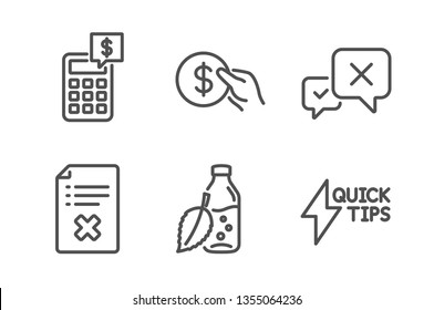 Reject file, Payment and Calculator icons simple set. Reject, Water bottle and Quickstart guide signs. Decline agreement, Usd coin. Business set. Line reject file icon. Editable stroke. Vector