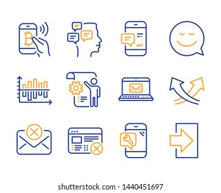 Reject mail, Smile and Settings blueprint icons simple set. Intersection arrows, Phone repair and Reject web signs. Bitcoin pay, E-mail and Smartphone notification symbols. Line reject mail icon