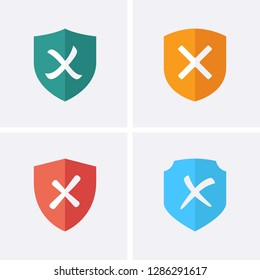 Reject or Shield Medal Icons. Vector flat set