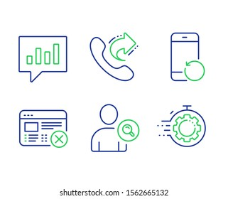 Reject web, Recovery phone and Share call line icons set. Find user, Analytical chat and Seo timer signs. No internet, Backup smartphone, Phone support. Search person. Business set. Vector