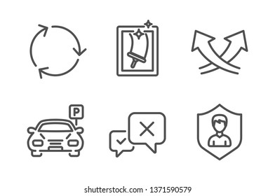 Reject, Window cleaning and Recycling icons simple set. Intersection arrows, Parking and Security agency signs. Delete message, Housekeeping service. Line reject icon. Editable stroke. Vector