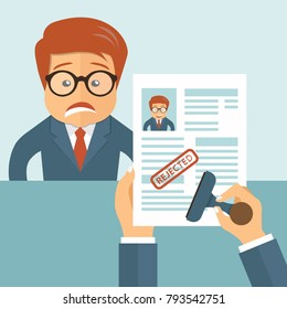 Rejected CV. Sad man and resume in hands. Recruiting, employment, human resources, team management concept. Flat vector illustration